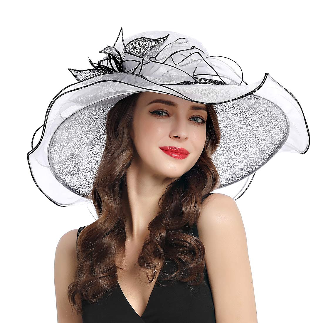 Women's Organza Church Kentucky Derby Fascinator Tea Party Wedding Hat (White Lace)