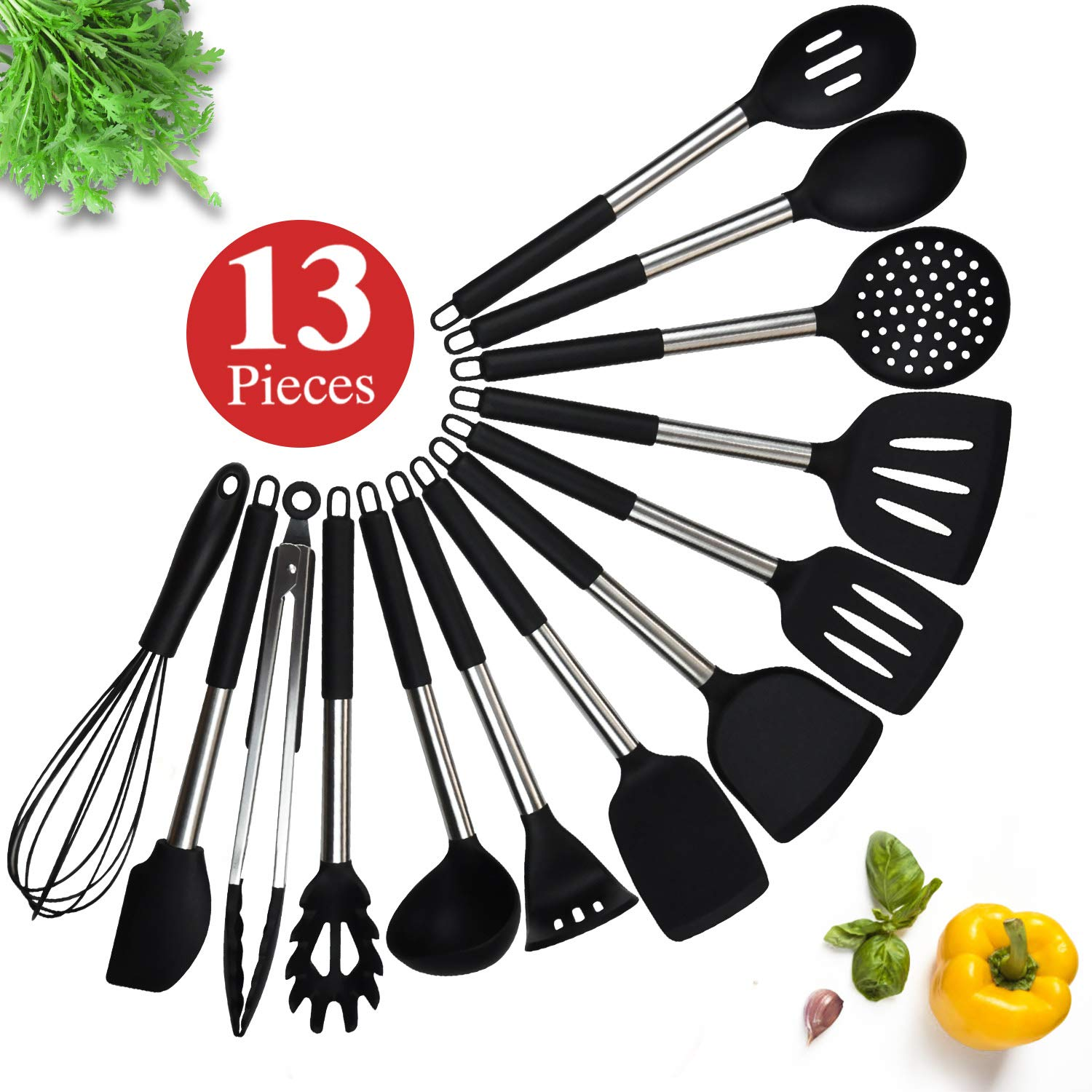 Kitchen Utensil Set, 13 Silicone Cooking Utensil Set, Silicone Utensil Spatula Set for Nonstick Cookware, ChicAid Kitchen Gadgets with Silicone Stainless Steel Handles(black, 13pcs) by ChicAid