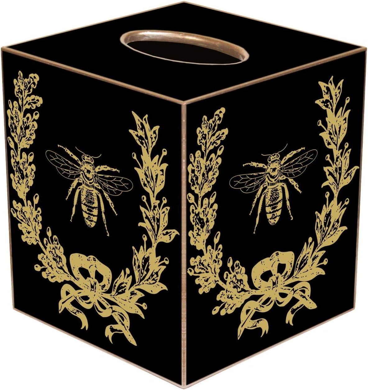 "Tissue Box Cover French Country Decor French Bee Decorations Tissue Holder Bedroom Decor Bathroom Decor Desk Decor Gold Black 5"" x 5"""