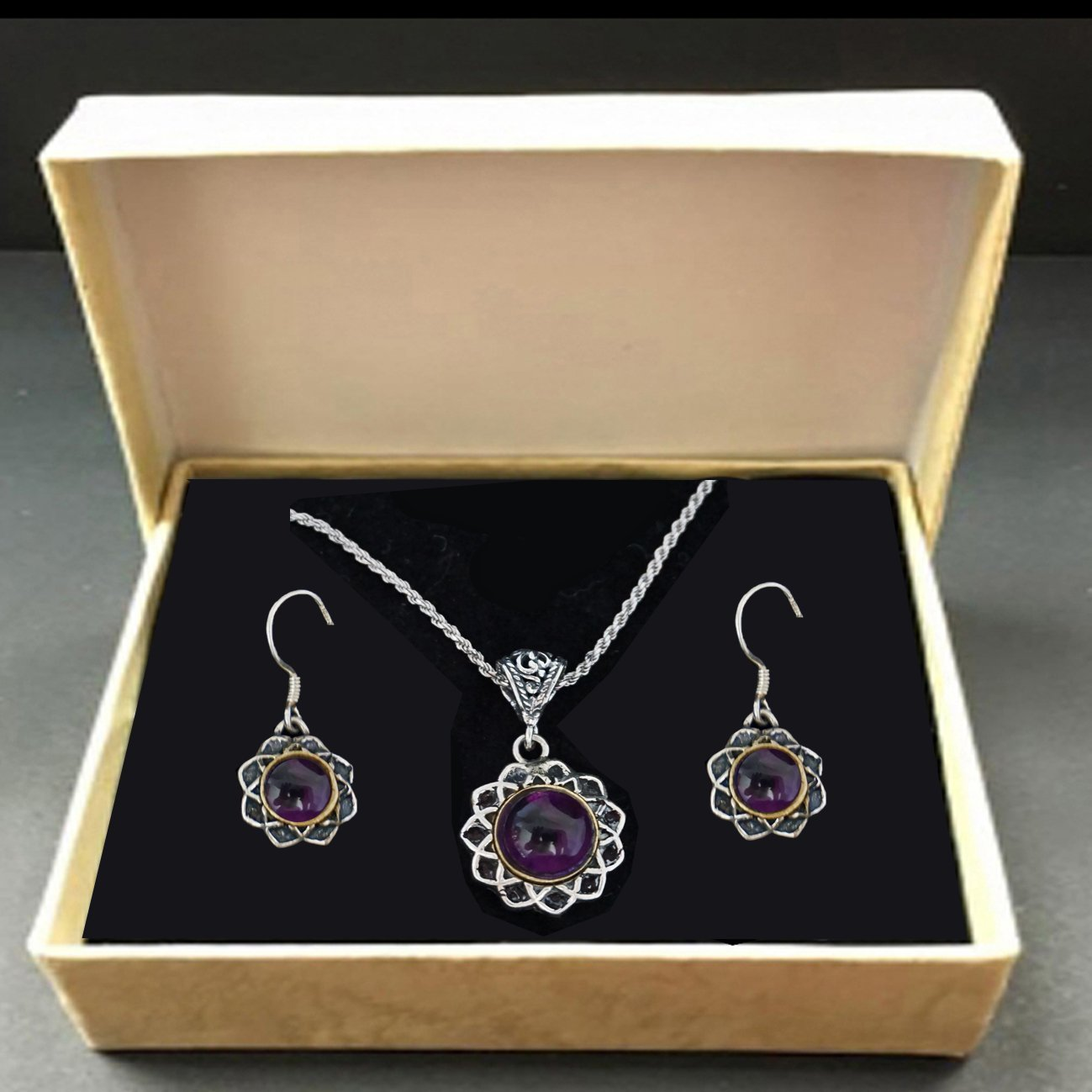 A Festive set For a Woman. Earrings and Pendant. Embedded with Amethyst. Chakra Important Gemstone. Artistic Filigree Work. In 925 silver with a Delicate Chain 18