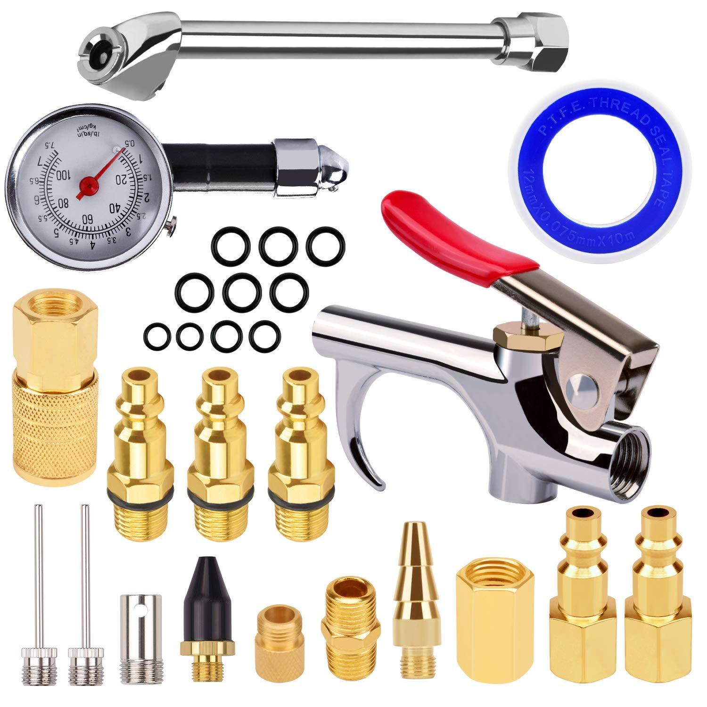Air Compressor Accessory Kit astarye 1/4 NPT Air Compressor Connect Coupler/Blow Gun/Tire Gauge/Storage Case/18 pieces
