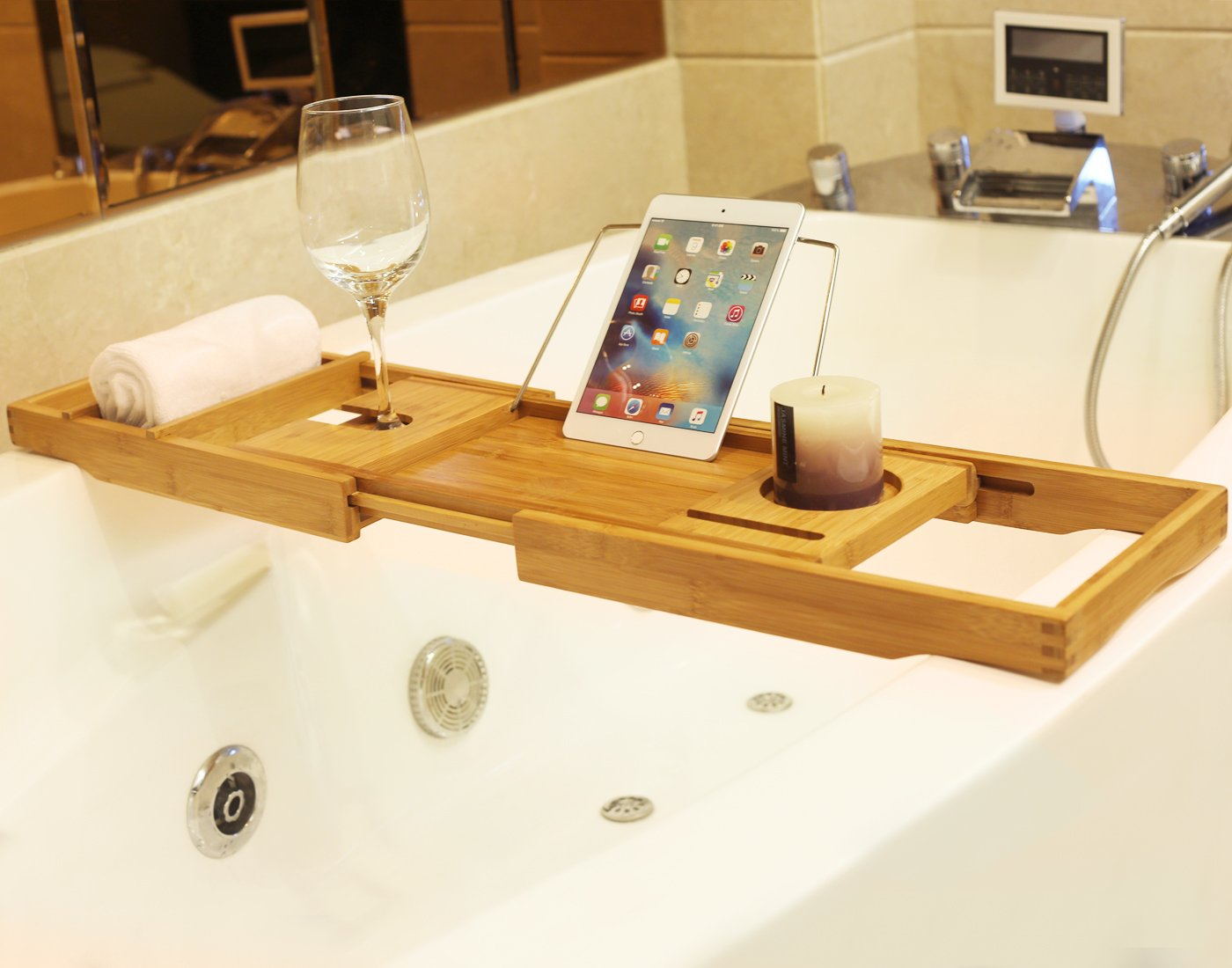 BAMBUROBA Bamboo Bathtub Caddy Tray Bathroom Organizer With Expandable  Sides Holder For Book Glass Towel   M017 U003c Bathtub Trays U003c Home U0026 Kitchen    TIBS