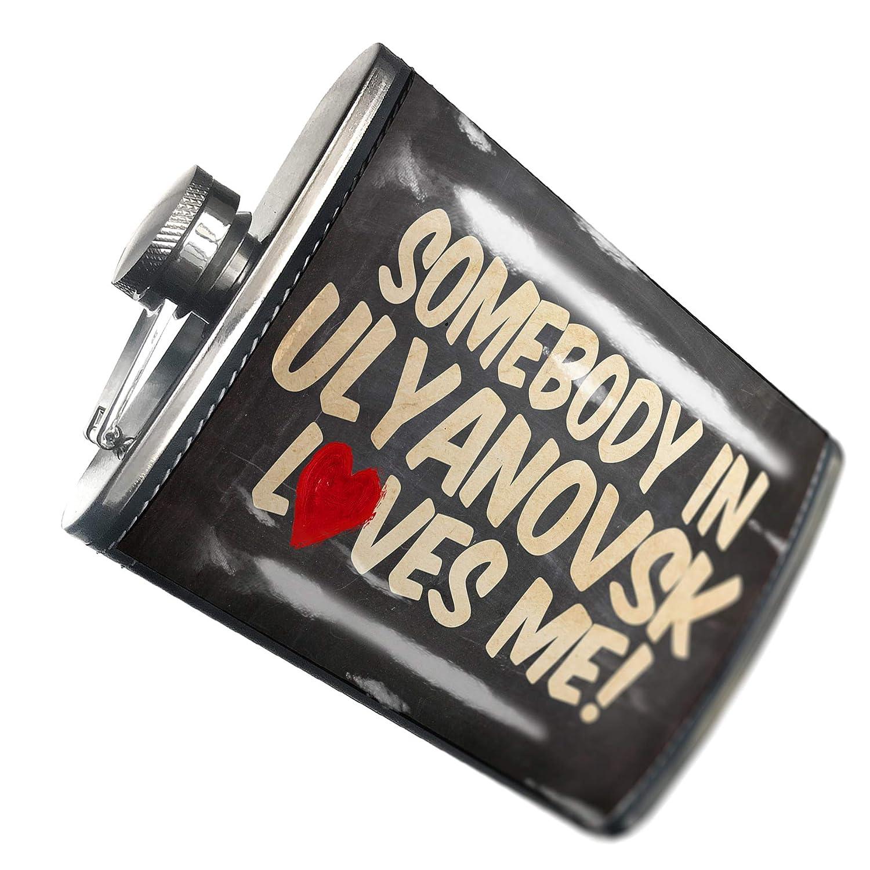 の8オンスのフラスコステッチ誰かUlyanovsk Loves me、ロシアステンレススチール – Neonblond   B00QQVG8TY