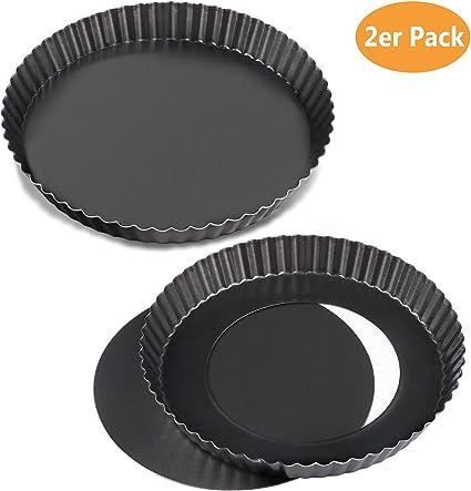 WisFox 2 Pack antiadherentes 8.8 pulgadas Quiche Tart Pan, extraíble Loose Bottom Tart Pie, Round Tart Quiche Pan con base extraíble
