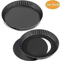 WisFox 2 Pack padella antiaderente con quiche da 8,8 pollici, padella rimovibile a fondo piatto rimovibile, tazzetta rotonda con base rimovibile
