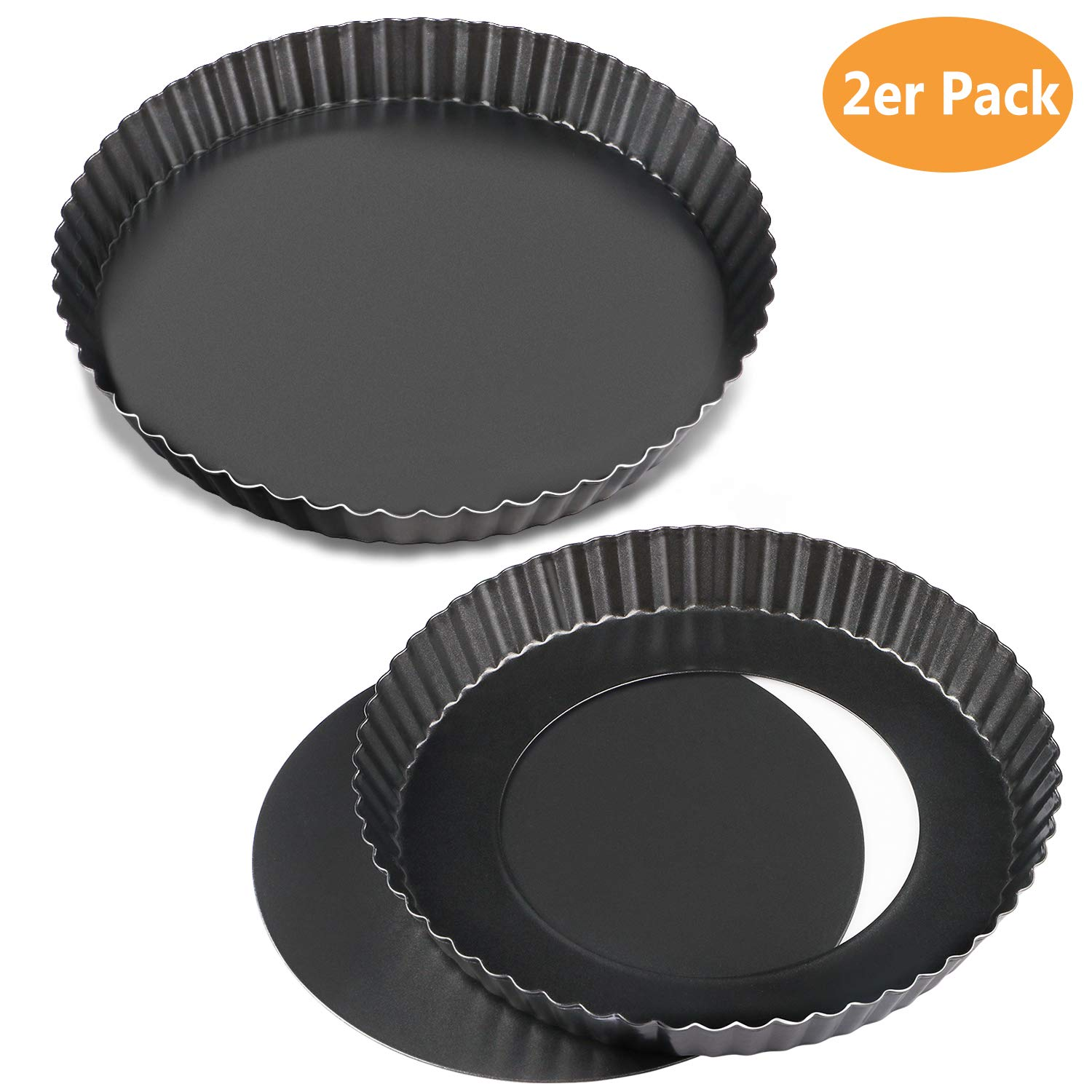 WisFox 2 Pack antiadherentes 8.8 pulgadas Quiche Tart Pan, extraíble Loose Bottom Tart Pie,