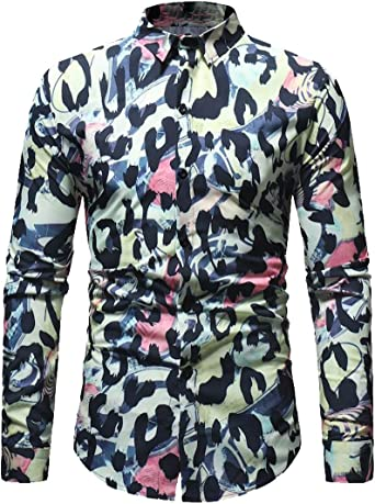 FSSE Men Casual Business Slim Plaid Long Sleeve Button Down Dress Work Shirt
