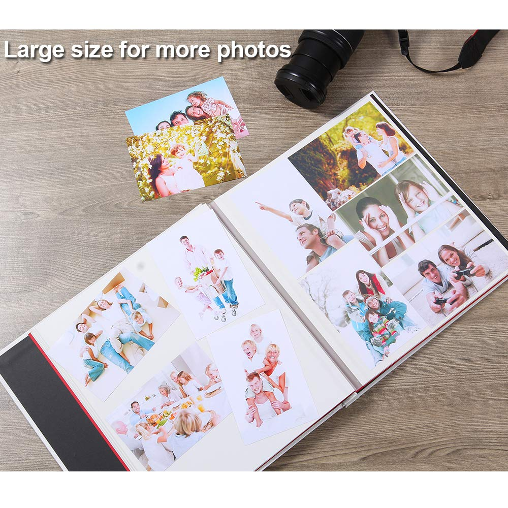 Large Self Adhesive Photo Album Magnetic Scrapbook Album 40 Magnetic Double Sided Pages Fabric Hardcover DIY Photo Album Length 13 x Width 12.6 Inches Khaki with A Metallic Pen