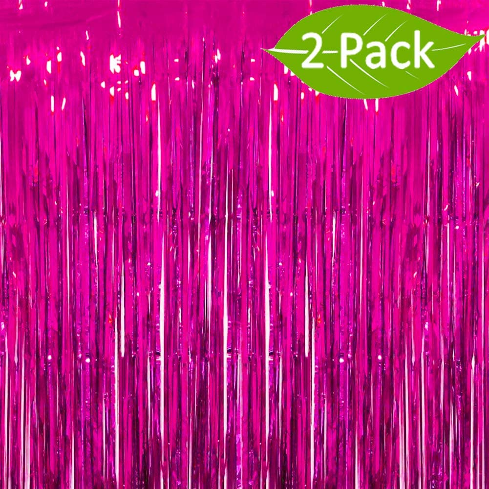 Deruicc 2 Pack Aquamarine Foil Curtains 3ft x 8ft Tinsel Fringe Curtains Shimmer Curtain Birthday Wedding Party Christmas Photo Booth Backdrop Decorations