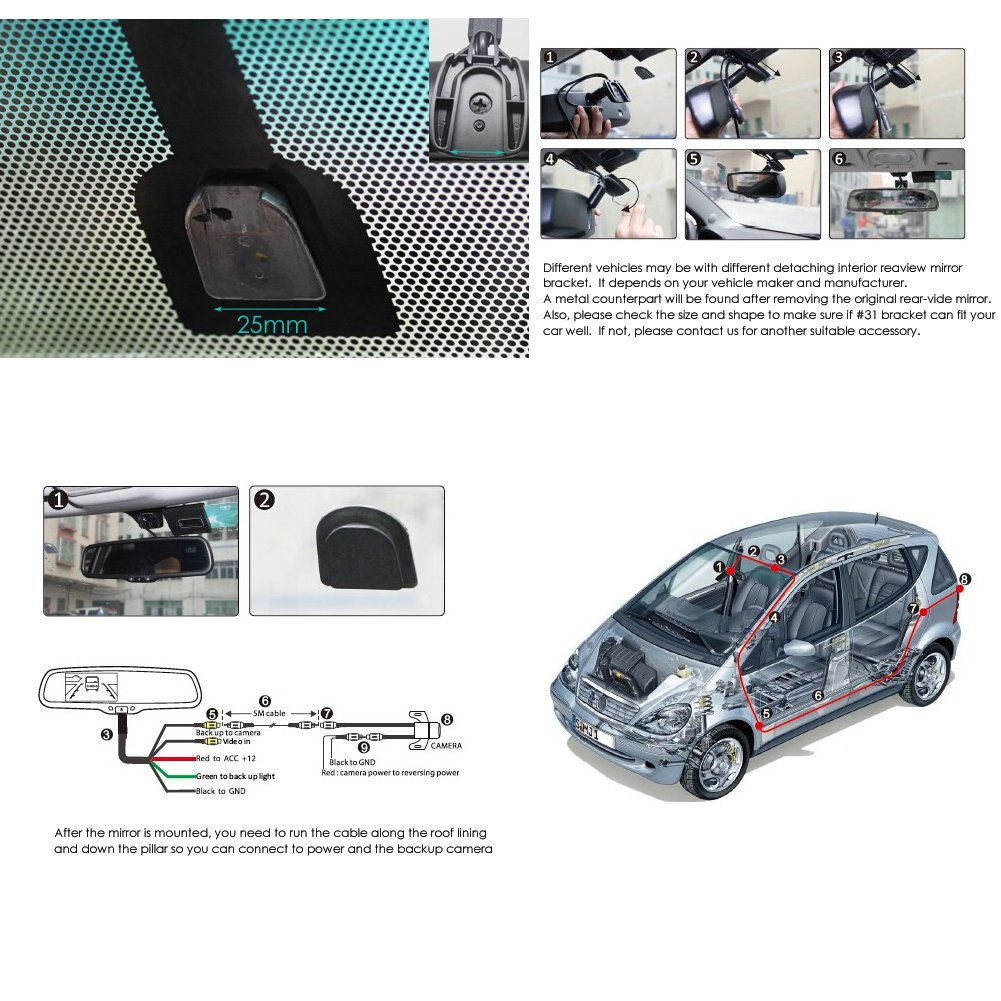 COOLINT CM-43LAD Auto-dimming 4.3 Inch LCD Dual Video Rear View Mirror Monitor OEM Replacement Bracket for Original Car Look