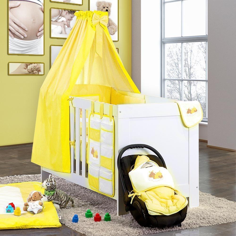 7-tlg. Bettsetpaket Sleeping Bear in gelb inkl. Krabbeldecke und Lätzchen