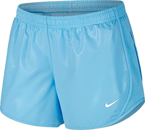 92fceaee08867 Amazon.com : Nike Girl's Dry Tempo Shine Running Shorts (Blue, X ...
