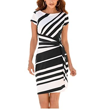 DUJUANNIAO Women Pencil Dress Fashion Stripe Knot Sheath Party Vestidos Robes Casual Party Dress Black White