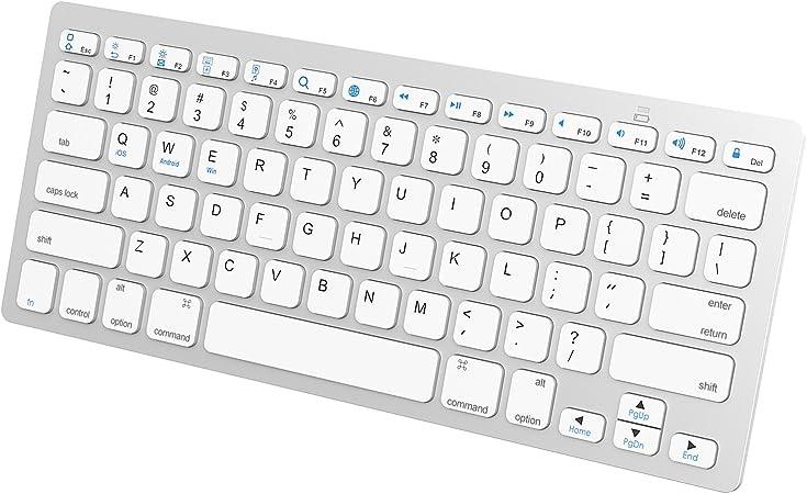 JETech Ultra-Delgado Bluetooth Mini Teclado Inalámbrico, Blanco