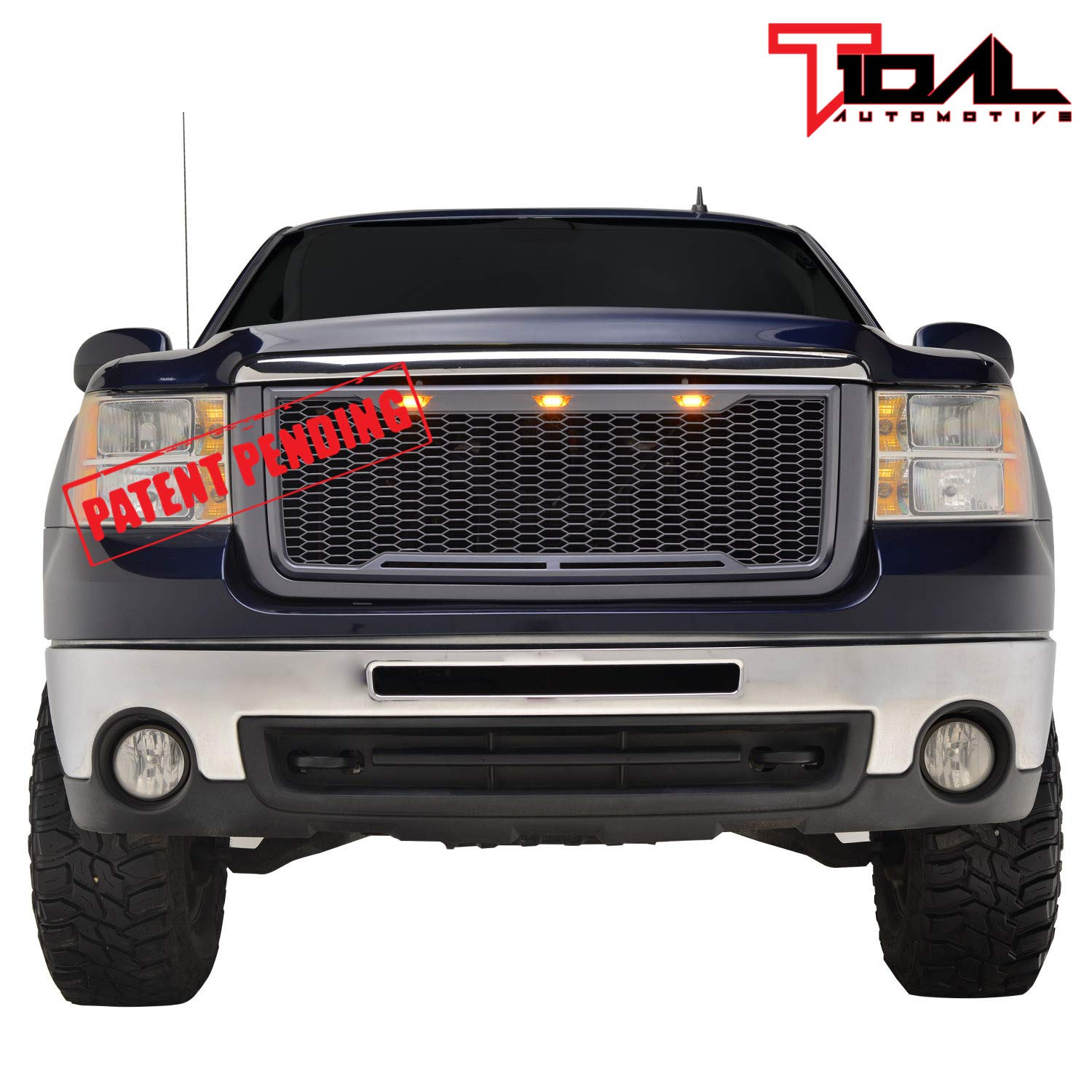 EAG Replacement Upper Grille Front Mesh Grill W//LED Lights Charcoal Gray Fit for 07-10 GMC Sierra 2500//3500 Heavy Duty
