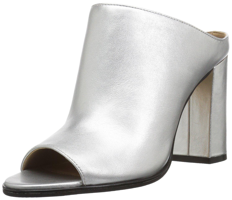 The Fix Women's Donna High-Heel Open-Toe Mule, Silver/Metallic, 7.5 B US