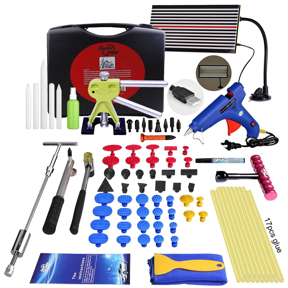 Super PDR DIY Car Auto Body Dent Removal Repair Tools Kits Car Scratch Remover Pen Dent Board Slide Hammer Working Gloves Glue Puller Sets Black Tool Box by Super PDR (Image #1)
