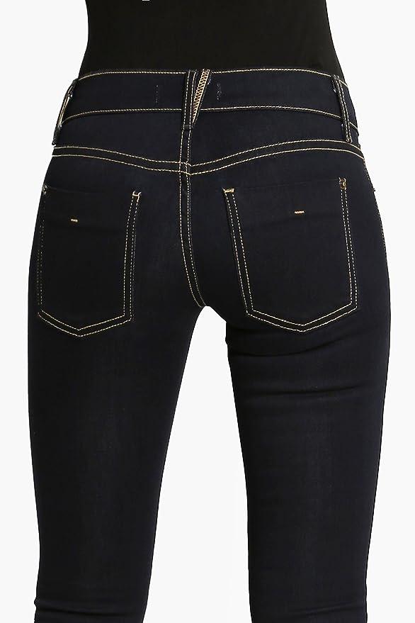 b3d7e3c0b652 TheMogan Women s indigo Rinced Rayon Denim Low Rise Skinny Jeans Dark Blue 0  at Amazon Women s Jeans store
