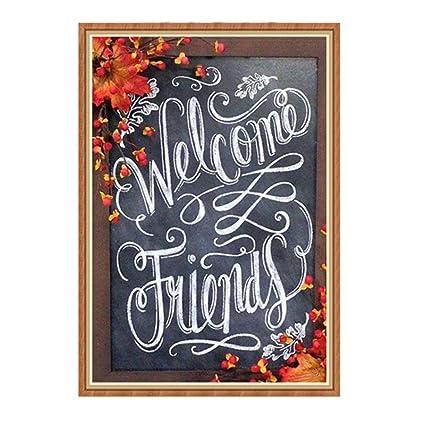 starona full drill 5d diamond painting blackboard writing welcome friends cross stitch kit diamond