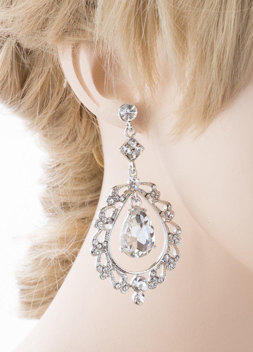 Bridal Wedding Crystal Rhinestone Teardrop Open Dangling Drop Fashion Earrings by Accessoriesforever (Image #3)