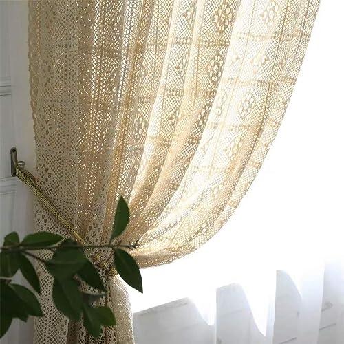 Muccyy Boho Chic Crochet Knitting Cotton Linen Window Curtain Panel Farmhouse Retro Rod Pocket Window Beige Sheer Curtains