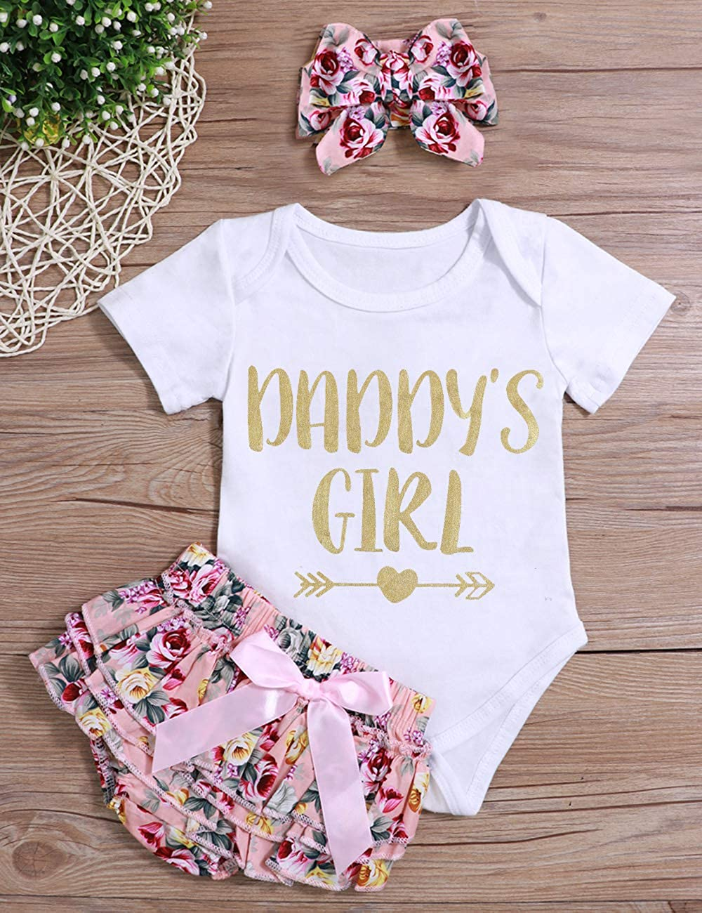 oklady Infant Baby Girl Clothes Daddys Girl Letter Print Romper Floral Bloomers with Headband 3PCs Toddler Outfits Set