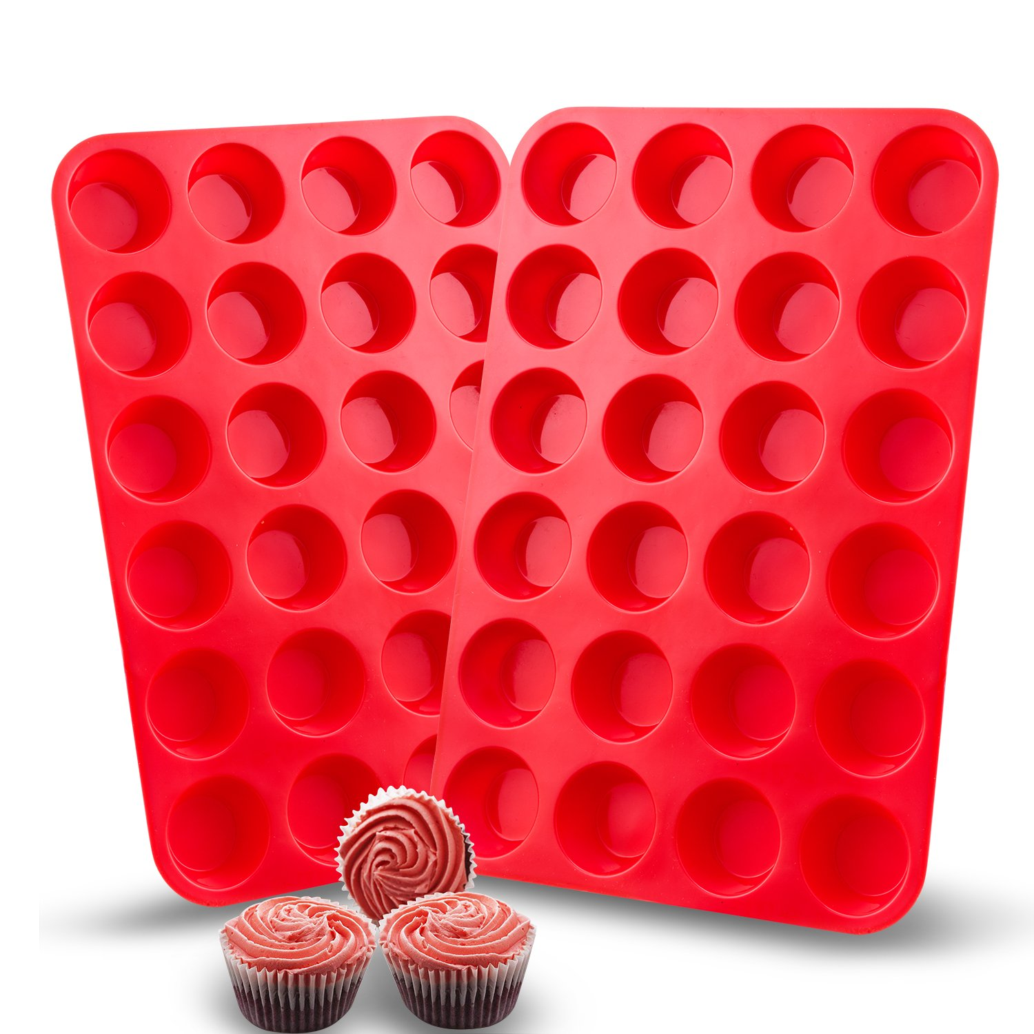 Auxcuiso 24 Cups Mini Muffin Molds Silicone Non Stick Set of 2 Packs Red AY-020-011
