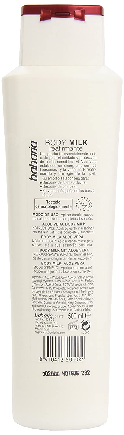 Amazon.com : Babaria Aloe Vera Firming Body Care With Aloe Vera (Firming Bodymilk with Vitamin E) 17 oz : Beauty