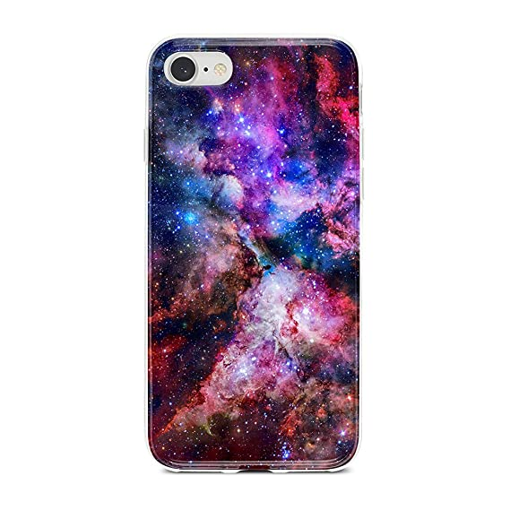 outlet store 1d395 cbf59 Obbii Case for iPhone 7/ iPhone 8 /iPhone 6/iPhone 6S Unique Outer Space  Nebula Galaxy Design Matte Slim TPU Flexible Soft Silicone Protective  Durable ...