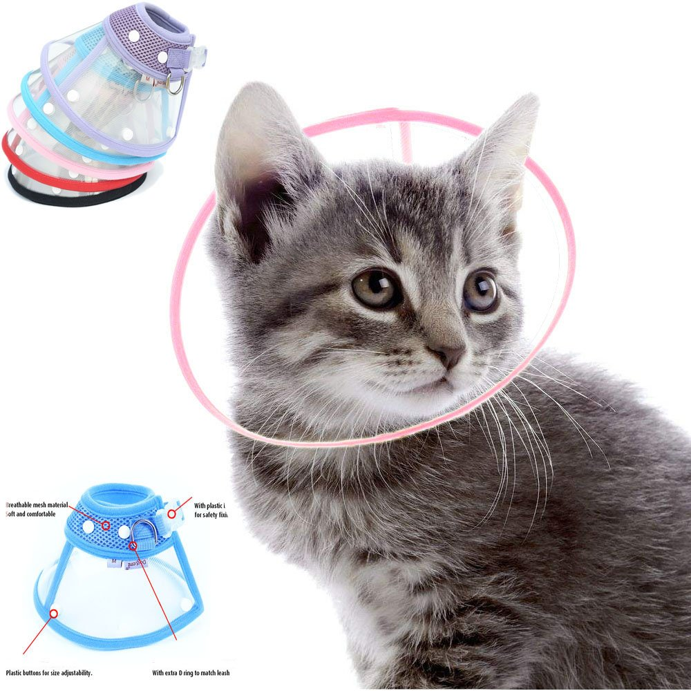 Naomi Dickerson Recovery Pet Cone E-Collar for Cats and Small Dogs - Elizabethan Collar with Breathable Soft Edge, Plastic Snap Closure and Stainless Steel D Ring- Pink color (M)