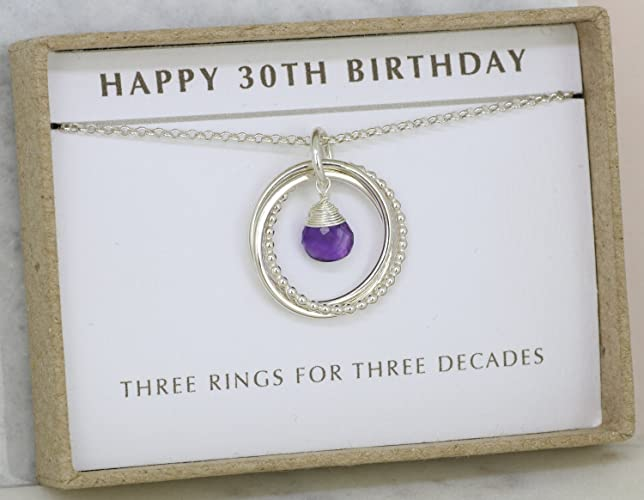 30th Birthday Gift For Her Amethyst Necklace February Birthstone