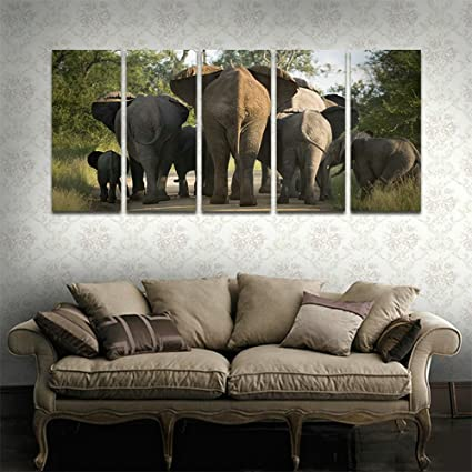Amazon.com: CyiArt - 5 Panels Elephant Wall Art Picture Pictures ...