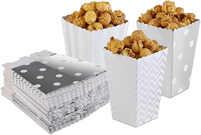 PIXNOR Cajas de palomitas de maíz palomitas bolsas Pack de 50 (plata): Amazon.es: Hogar