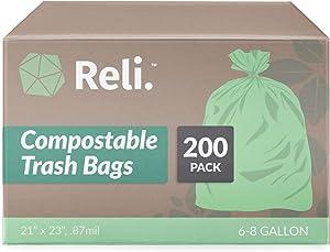 Reli. Compostable Trash Bags 6-8 Gallon | 200 Count Bulk | ASTM D6400 | Green Compost Bags for 6 Gallon - 8 Gallon - 10 Gallon Capacity, Eco-Friendly Garbage Bags (6 Gal - 10 Gallon Trash Bags in Bulk)