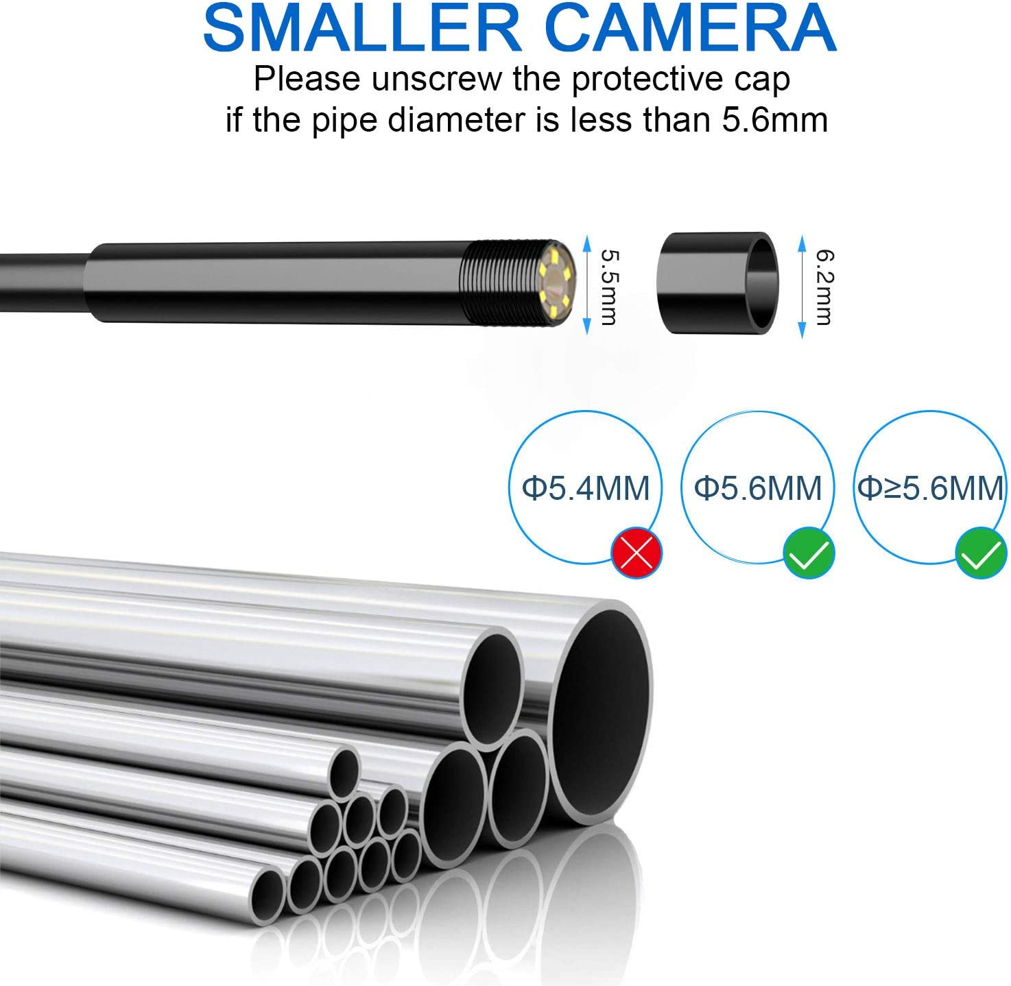 Pipe Detecting Snake Camera for Automotive Engine 1080P HD 5.5MM Borescope with 4.3inch Screen 8GB TF Card 33FT Inspection Camera IP67 Waterproof Industrial Endoscope Camera with 2800nAh Battery