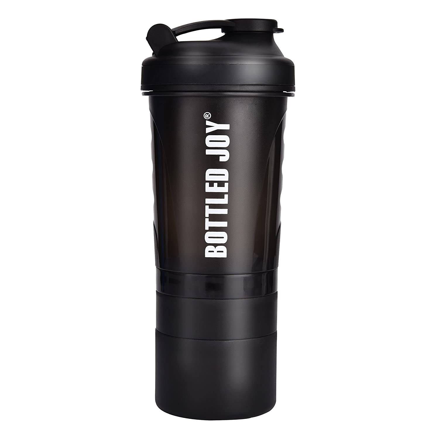 BOTTLED JOY Protein Shaker Bottle with 3-Layer Twist and Lock Storage, 100% BPA-Free Leak Proof SportMixer Fitness Sports Nutrition Supplements Non-slip Mix Shake Bottle 20oz 600ml (Black)