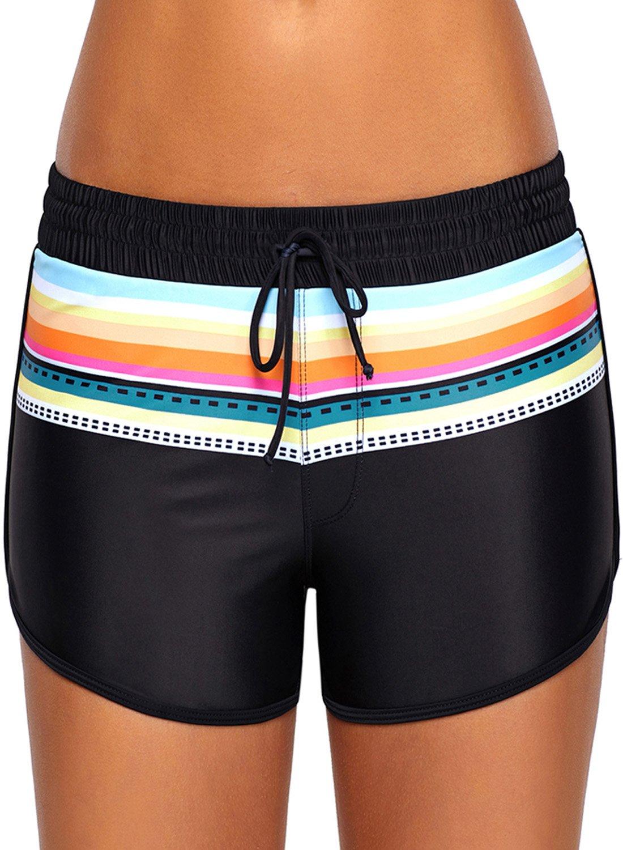 Women Summer Waistband Swim Beach Drawstring Board Shorts Boyshorts Swimsuit Bottoms Swimming Panty Plus Size Swimwear Black 2XL 18 20