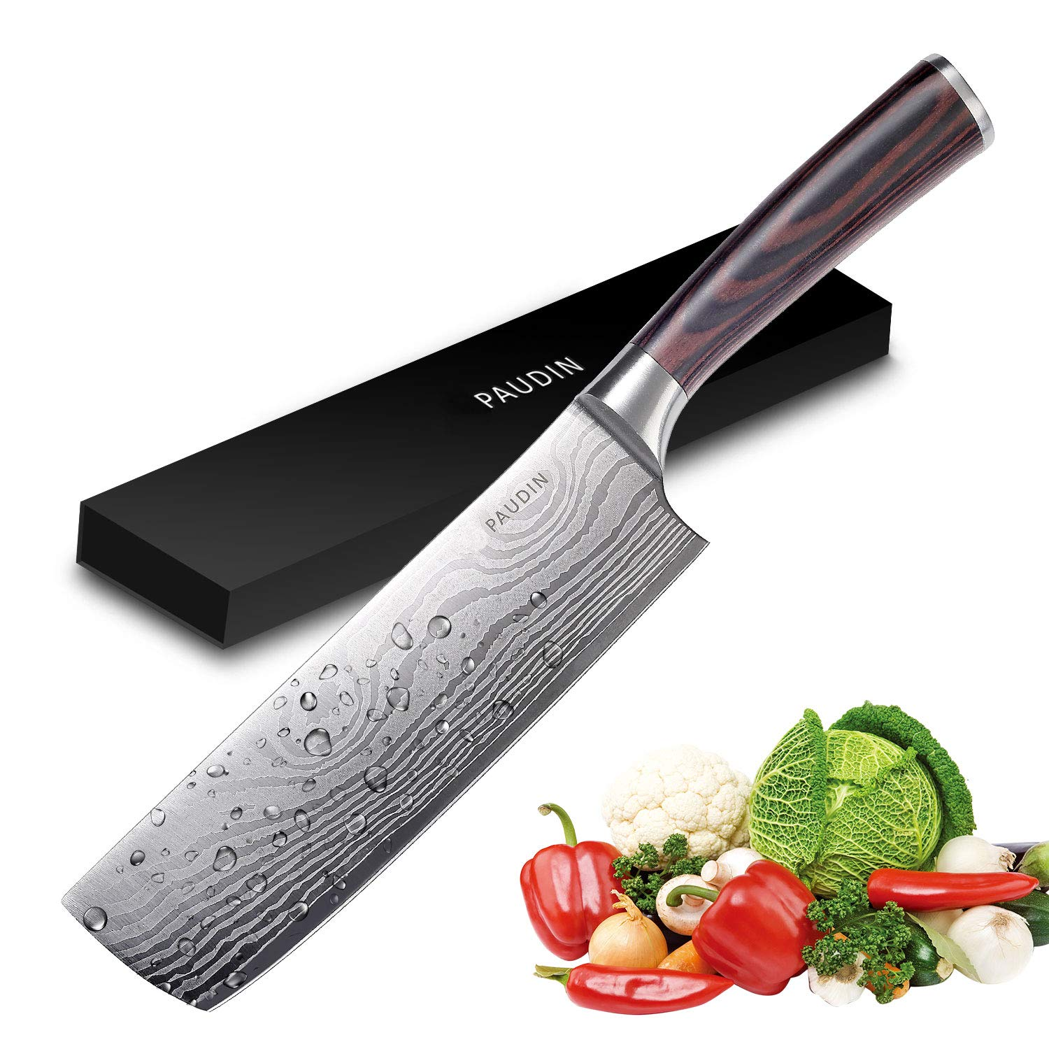 Cleaver Knife - PAUDIN 7 inch Chinese Vegetable Cleaver Kitchen Knife N6 German High Carbon Stainless Steel Meat Cleaver Knife