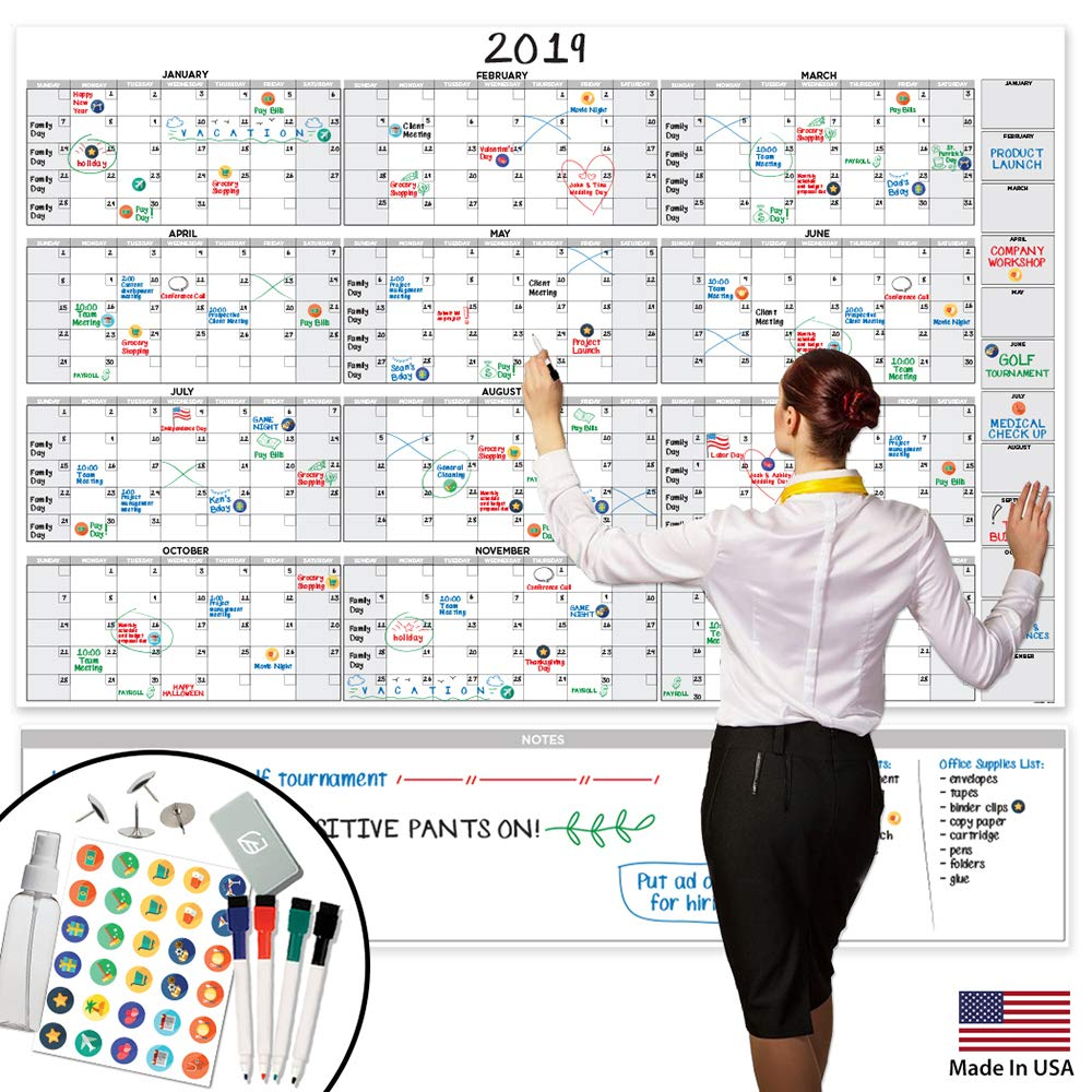 Large Dry Erase Wall Calendar - 58'' x 38'' - Blank 2018-2019 Reusable Annual Planner - Academic Fiscal Year Office Project 12 Month Poster - Laminated Giant Jumbo Oversized Erasable Undated Calander