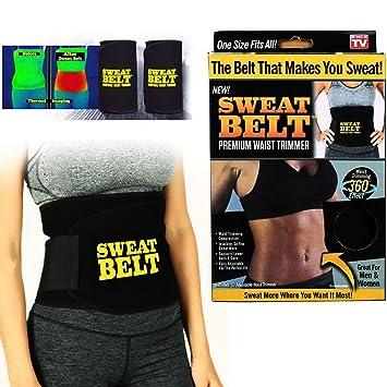 efc85a8066 Hot Shaper Sweat Slim Belt Waist Trimmer Fat Burner Belly Tummy Yoga Wrap  Black Exercise Body Slimming Belt  Amazon.in  Sports