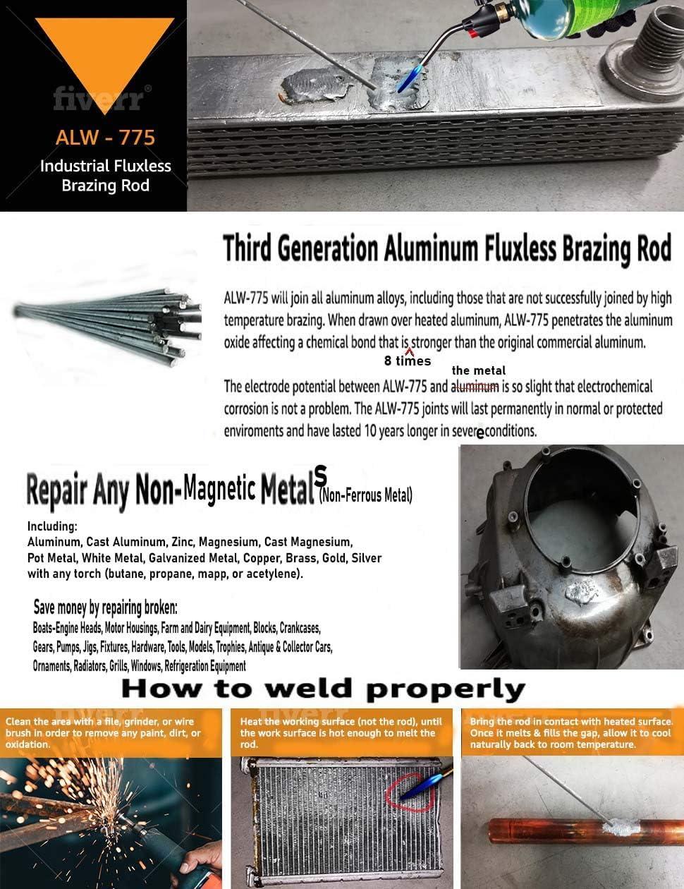 ALUMINUM FLUXLESS 5 PC.18 BRAZING RODS WELDING RODS REPAIR NON FERROUS NON MAGNETIC METAL