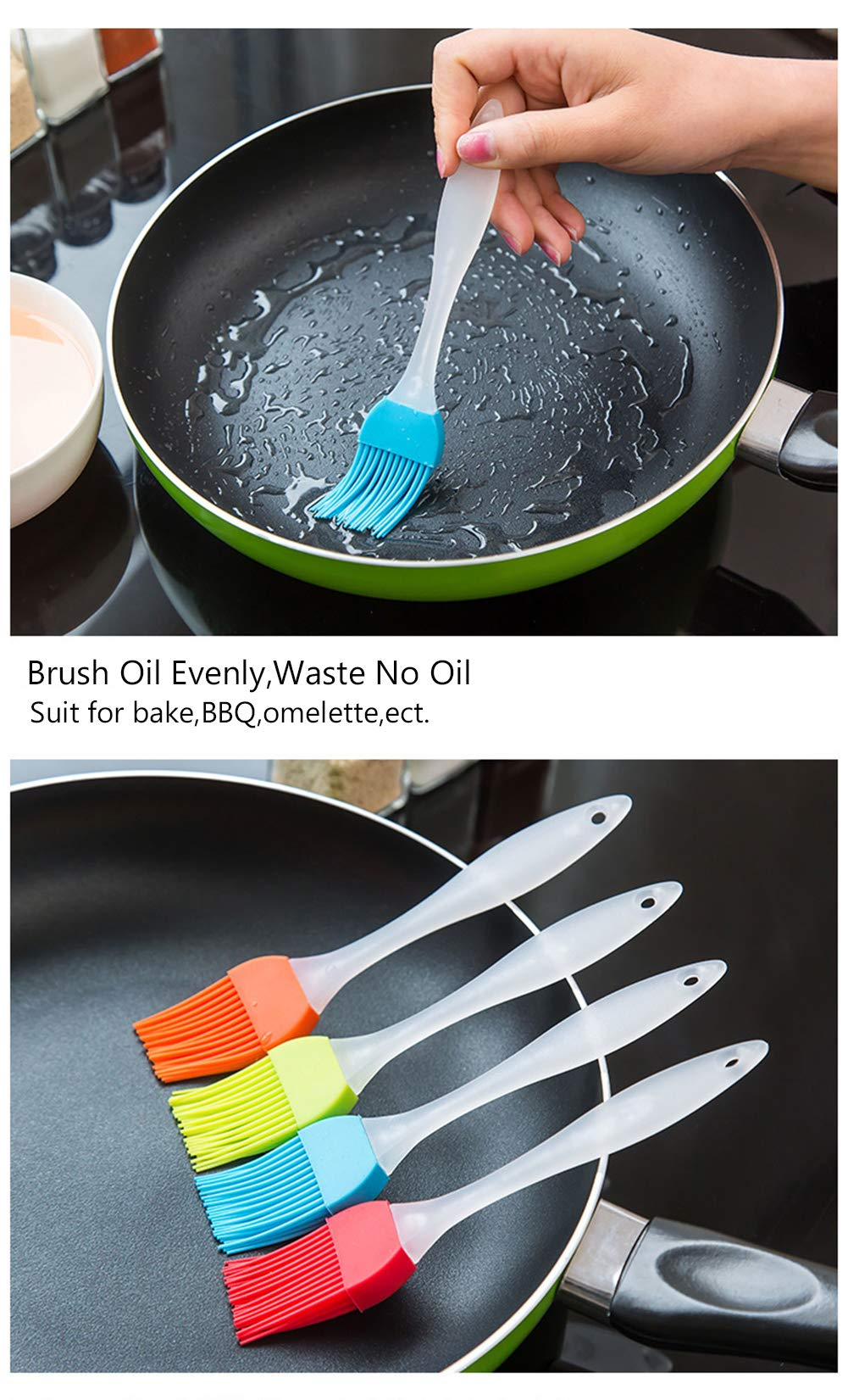 FDIO 5 Pcs Silicone Pastry/Basting/Oil Brush,Kitchen Gadgets for BBQ,Meat,Grilling,Cakes,(Multicolor) 5 MATERIAL: The oil brush head is made of food-grade silicone, which can withstand high temperature. The handle is environment-friendly PP which is non-toxic and durable FIVE COLOR TO CREATE FOOD: Including multiple colour 5 silicone brushes in one set, vibrant colors, avoid flavor crossing by using one color for different seasoning LIGHTWEIGHT DESIGN: The lightweight handle provides a soft comfortable firm grip making basting easy, quick and effortless coating action, can be used in many applications