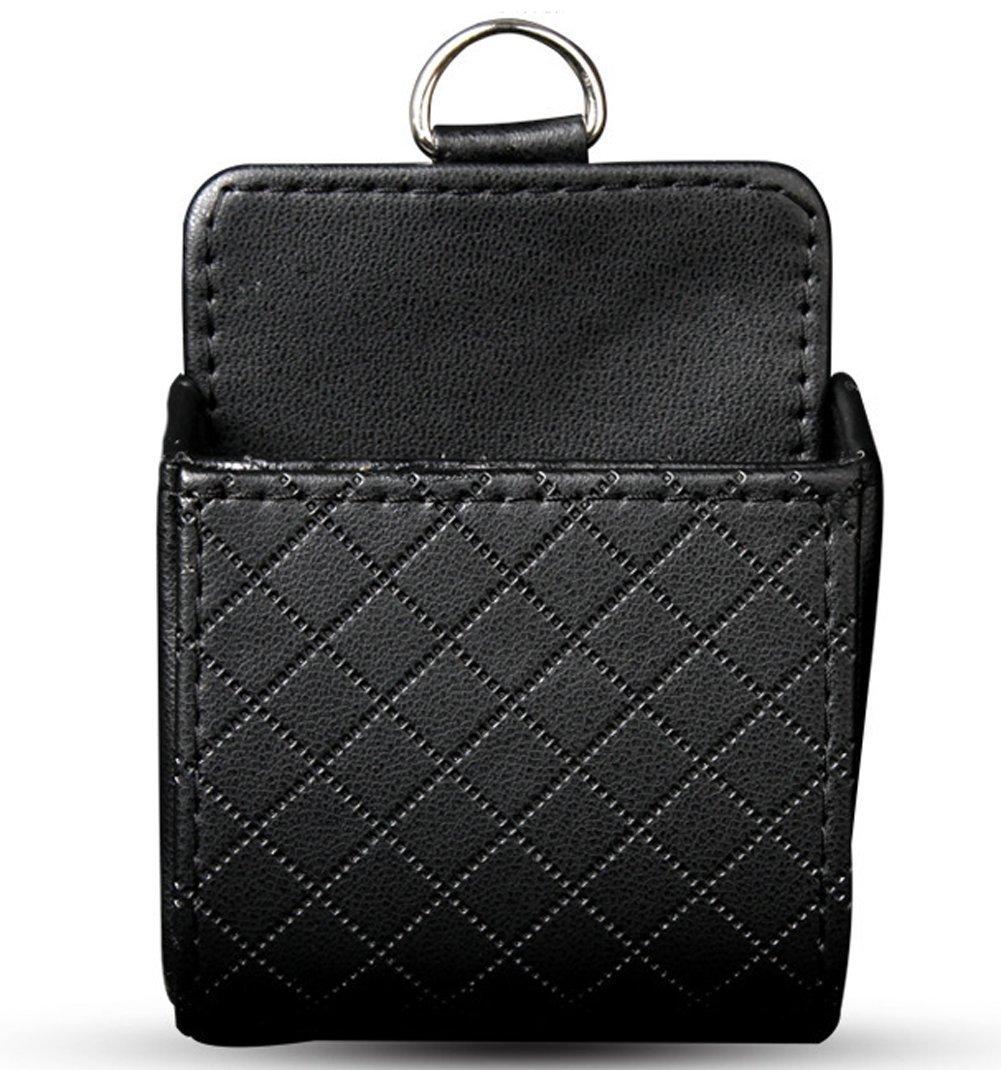 1 PCS Leather Car Air Vent Outlet Storage Pouch-Pocket Storage Box CD Cellphone Sundries Keys Glasses Organizer (Black) Elandy