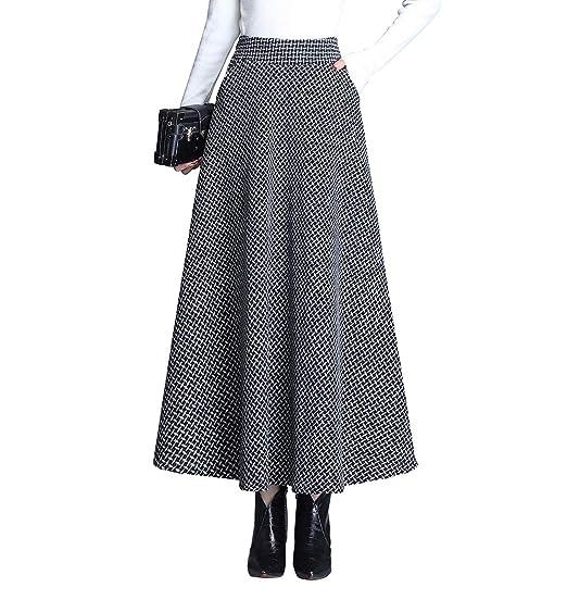 RIZ-ZOAWD Mujer Caliente Houndstooth Larga Falda de Lana A-Line ...