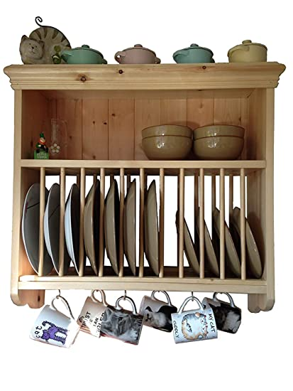 Buy Indian Sterline Kitchen Plate Rack, Wooden and Wall