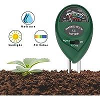 Housolution Testeurs de Sol, 3 en 1 Testeur de Sol Évaluation d'Humidité, de Lumière et Testeur de pH, pour Jardin Plantes sous-Sol Pelouse - Vert