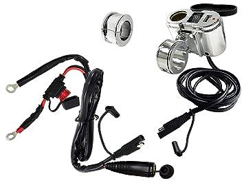 EKLIPES EK1-110 12v Conector Toma de Corriente mechero Encendedor USB para Moto, de