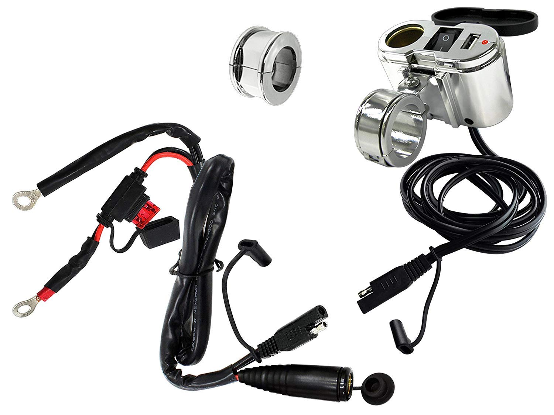 EKLIPES EK1-110 Cobra Chrome Ultimate Motorcycle USB Charging System, 1 Pack