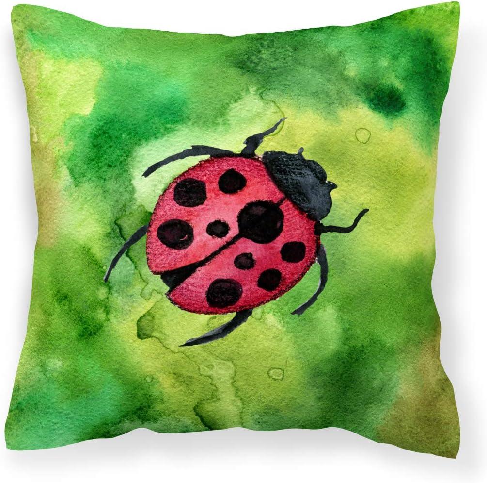Caroline s Treasures BB5770PW1414 Irish Lady Bug Fabric Decorative Pillow, 14Hx14W, Multicolor