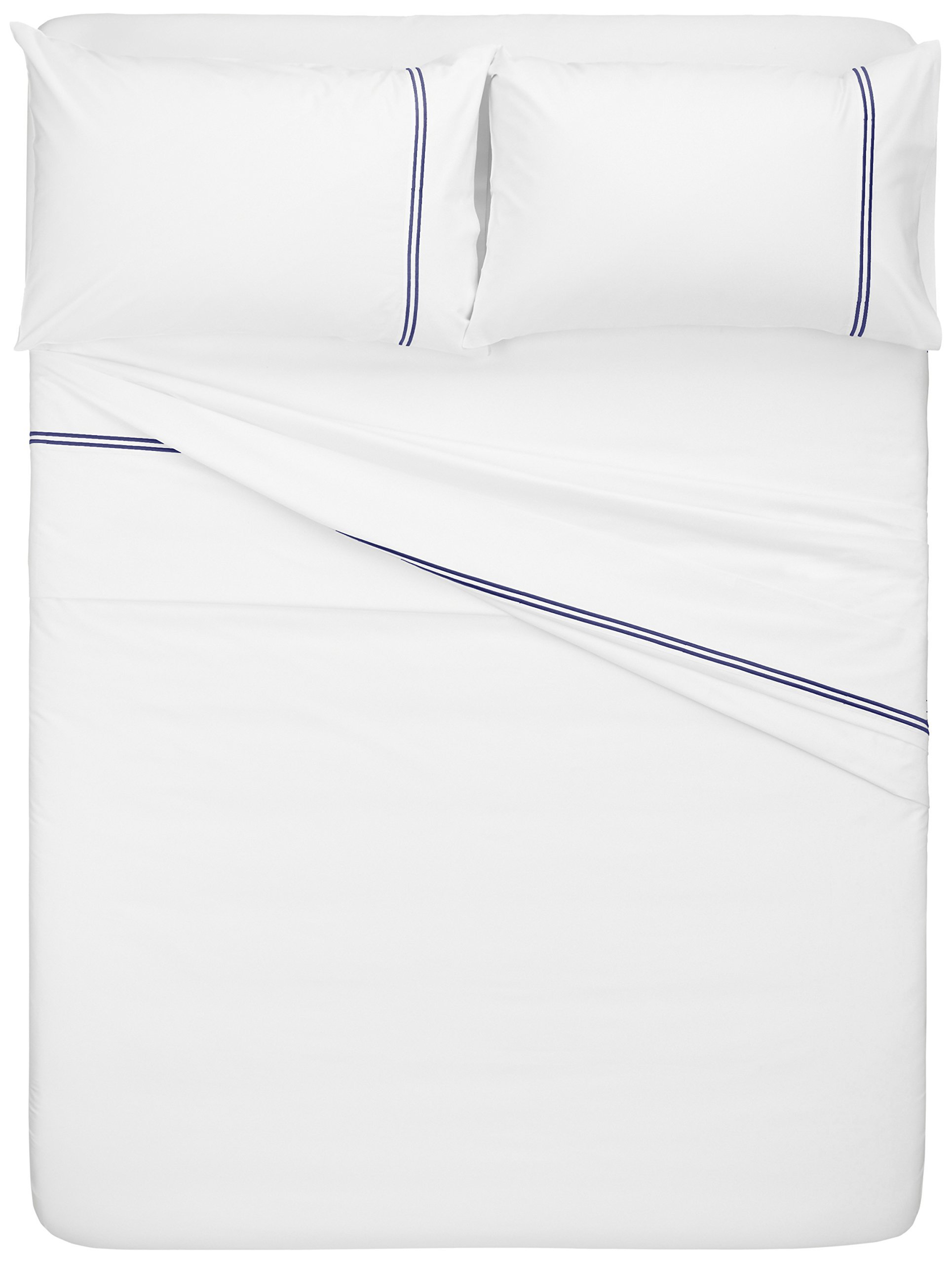 Pinzon 400-Thread-Count Egyptian Cotton Sateen Hotel Stitch Sheet Set - Queen, Navy by Pinzon by Amazon (Image #4)